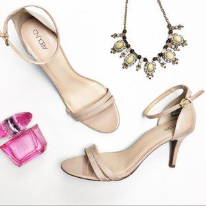 GUC ABOUND Nude Patent Ankle Strap Open Toe Heels